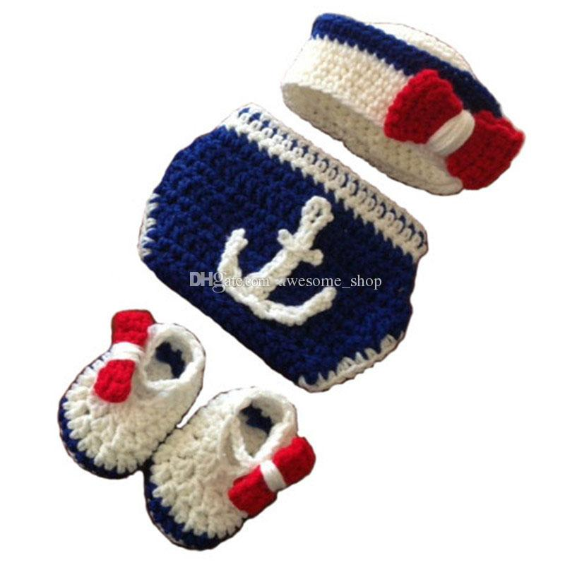 Newborn US Navy Sailor Costume,Handmade Knit Crochet Baby Girl Sailor Hat,Booties and Diaper Cover Set,Infant Toddler Photo Prop