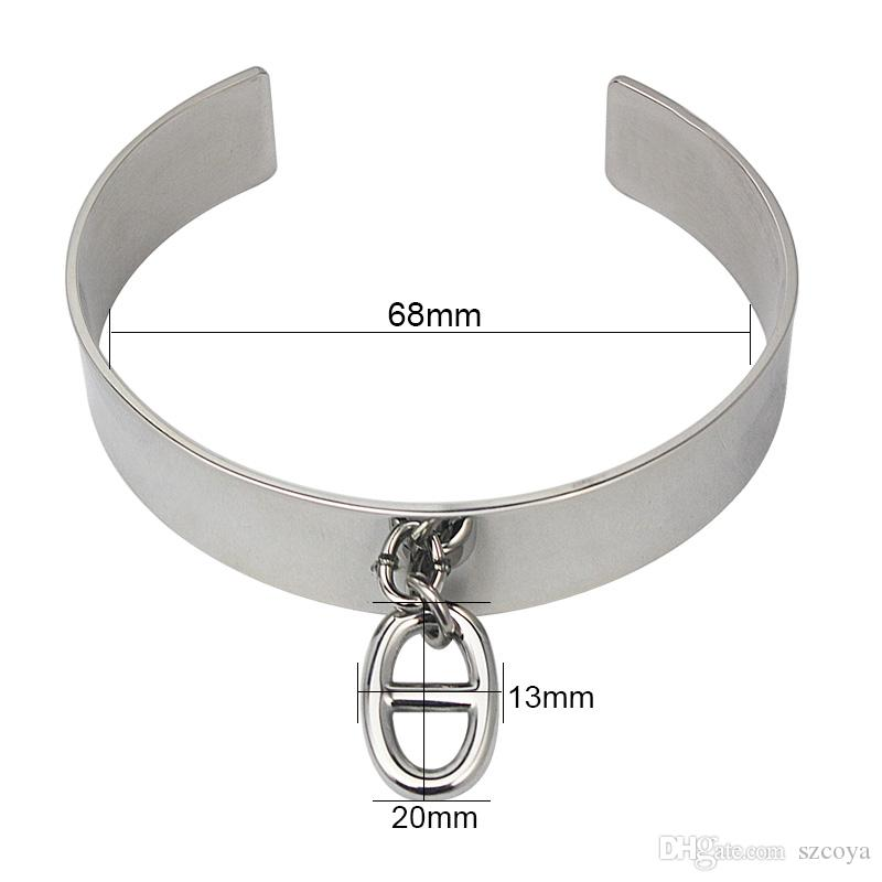 Silver Color Charm Bangle Bracelet Stainless Steel Women Fashion Jewelry Cuff Bracelets with Oval Shape Pendant Letter