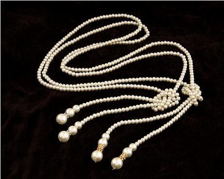 2017 fashion Long Beaded Pearl Necklace Sweater Chain Western Luxury Alloy Golden Silver Color from factory