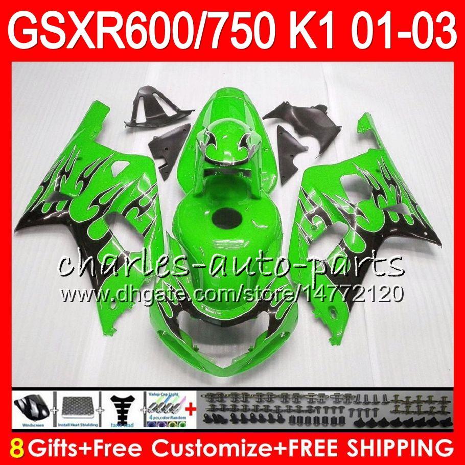 8 regalos de es de carrocería brillo verde para SUZUKI GSXR600 GSXR600 GSXR750 01 02 03 8HM51 GSX R600 R750 K1 GSXR carenado 750 600 2001 2002 2003