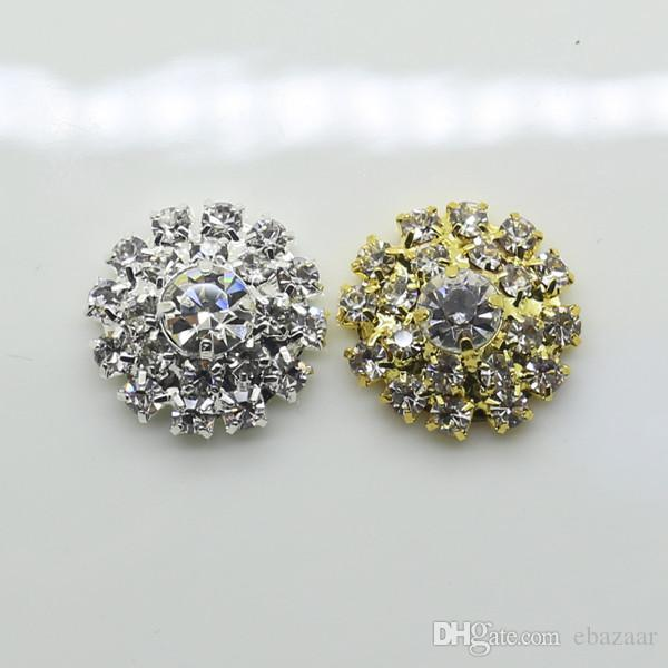 DIA 18mm Round Rhinestone Embellishment Buttons Flat Back Clear Crystal Cluster Buckle