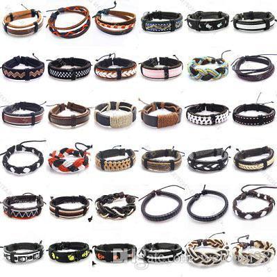 10 sztuk / partia Mix Style Skórzane Bransoletki Bransoletki Dla DIY Craft Moda Biżuteria Prezent 8inch LB03
