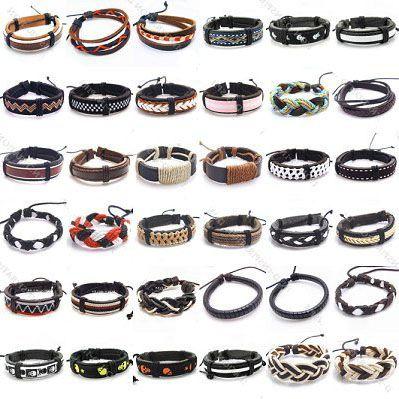 10st / mix Style Läder Bangles Armband för DIY Craft Mode Smycken Gift 8Inch LB03