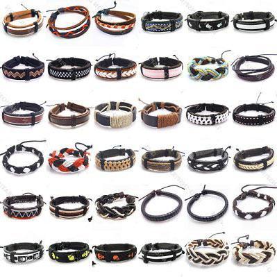 Art-Leder-Armband-Armbänder der Mischungs-/ für DIY Fertigkeit-Art- und Weiseschmucksachen Gfit freies Verschiffen 8inch LB03