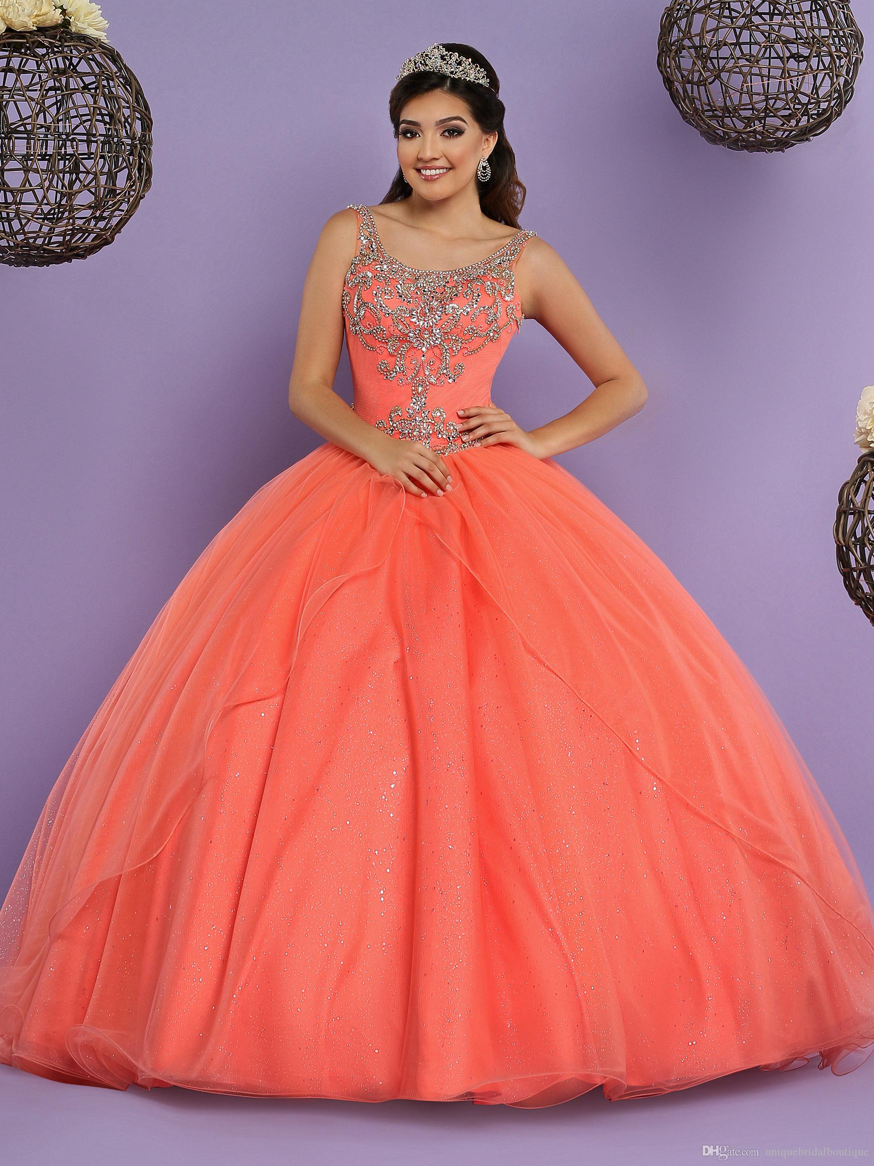 5079b10305e Coral Quinceanera Dresses 2017 with Free Bolero Beautiful Sweet 15 Dress  Lace Up Back   Scoop Neck Shiny Crystals Rhinestones Ballgown Prom