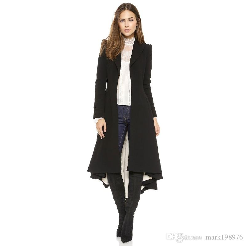 2017 2017 Autumn New Women Long Coat Hidden Breasted Black Suit ...