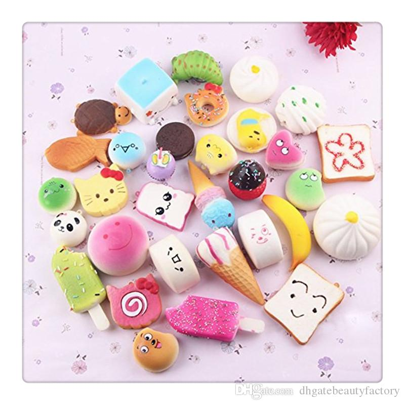 Wholesale Free Squishies Phone Straps Cute Mini Squishy Foods Phone Charm Key Chain Strap Lovely Soft Bread Cake Doughnut Kids Toys Free DHL
