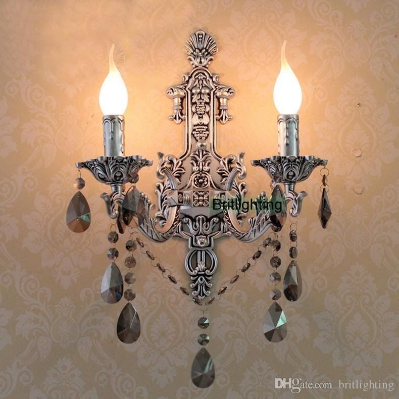 Antique Bathroom Wall Sconces 2017 antique silver wall sconces vintage crystal wall lights led