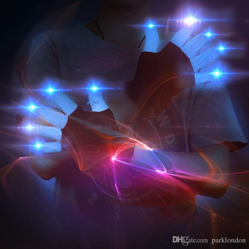 선물 LED가 플래시 장갑 다섯 손가락 라이트 고스트 댄스 블랙 바 스테이지 성능 화려한 레이브 라이트 손가락 조명 장갑 번쩍 이는 발광