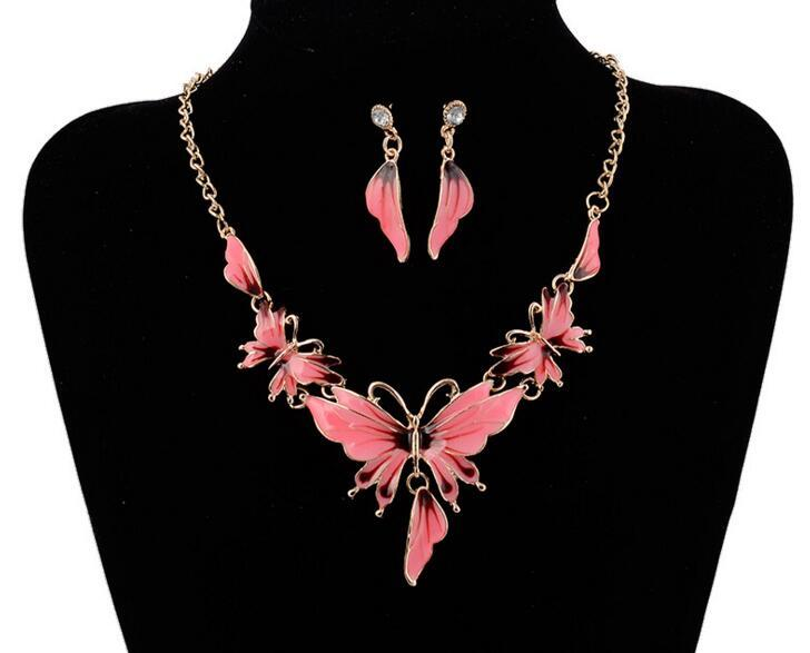 Fashion Alloy Bridal Butterfly Necklace Earrings Jewelry Set Butterfly Choker Necklace Jewelry Sets Chain Necklace Earrings sets