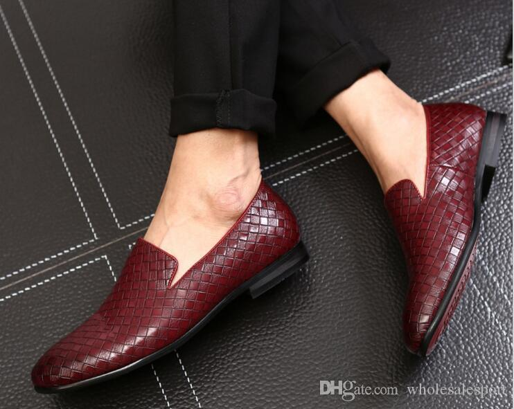 free shipping under $60 Fashion Handmade Medusa Top and Metal Toe Men Velvet Weaving Dress shoes Men Luxurious Prom and Banquet Loafers Red Leather visit online loGAcllHqq