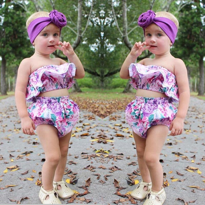 ee51a96428 2019 2017 Mikrdoo Newborn Summer Toddler Kids Baby Girls Purple Floral Tube  Top Lace Shorts Outfit Fashion Set Flower Cute Princess Clothes From  Mikrdoo