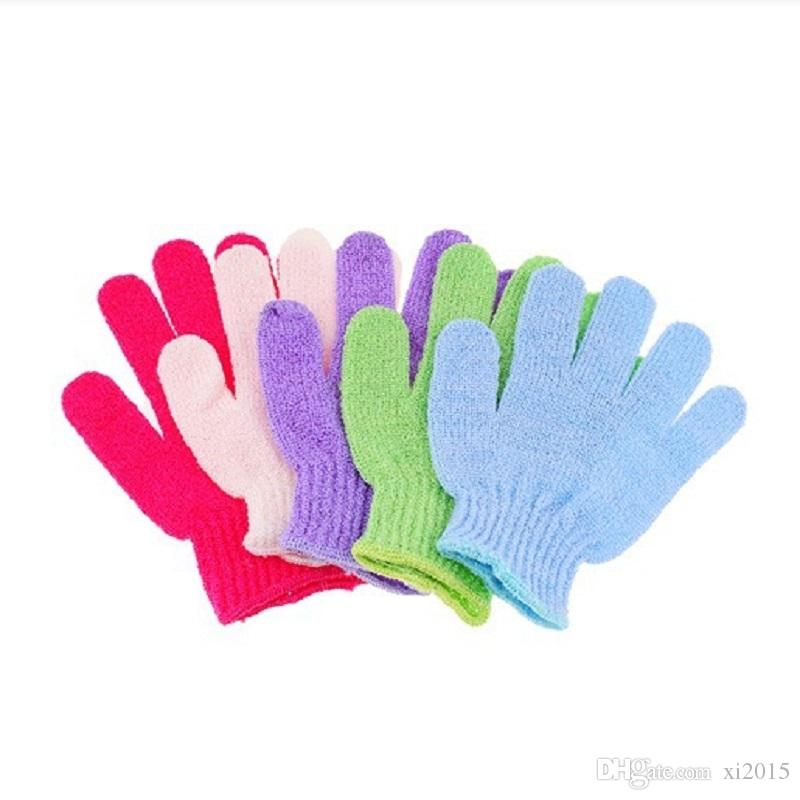 Exfoliating Bath Glove Five fingers Bath bathroom accessories nylon bath gloves Bathing supplies products DHL wa3223