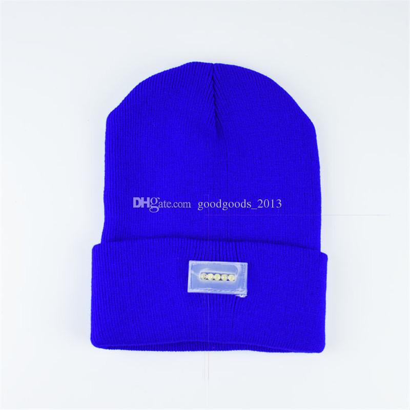 5 LED Light Headlamp Cap Knit Beanie Hat for Hunting Camping Running Fishing Flashlight Beanies b1088