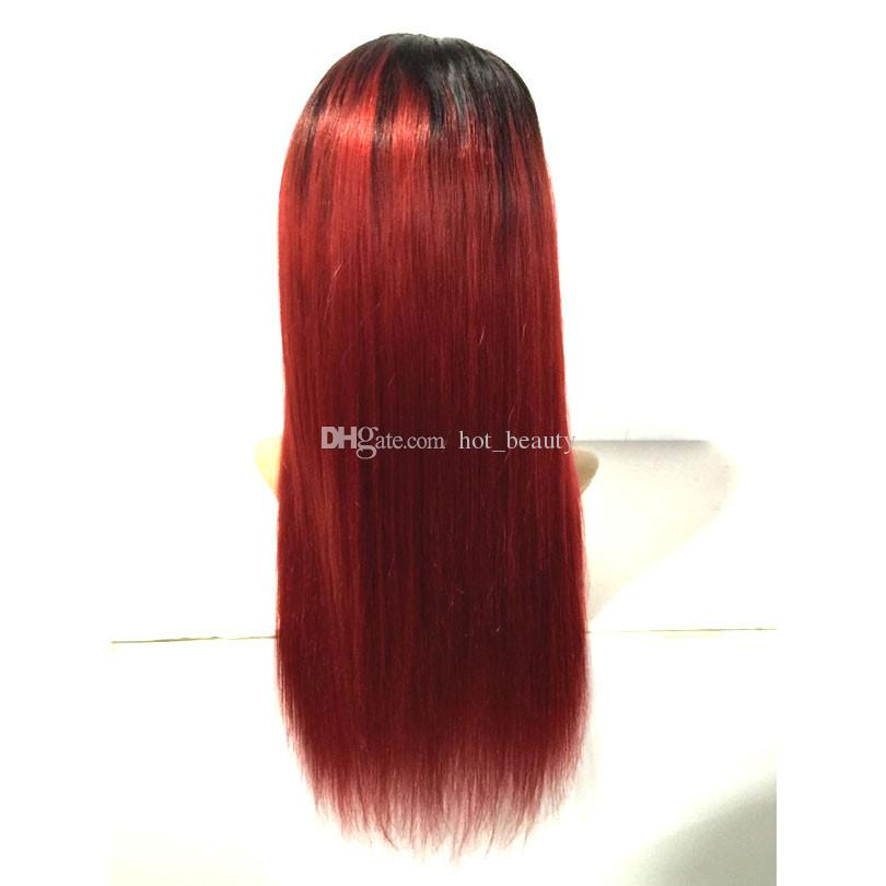 Two Tone 1b 99j Wine Red Ombre Hair Lace Front Wigs Burgundy Full Lace Human Hair Wig Glueless Wigs With Baby Hair