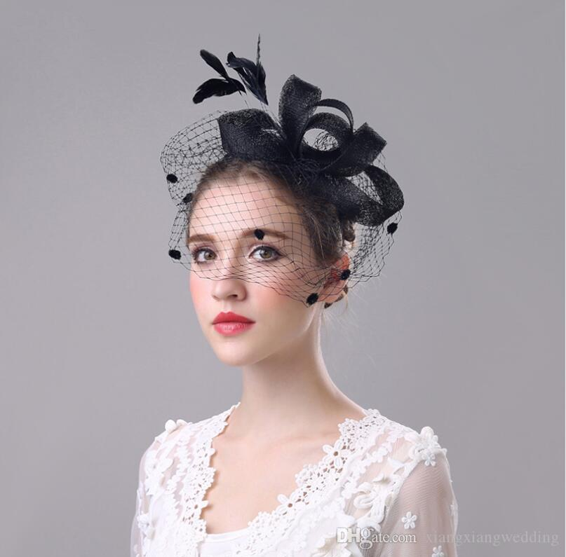 2aa4b701ecaa4 Elegant Feathered Net Flax-cap Hair Ornament Bride s Grenadine Linen  Fascinator Hat Veil Bride s Head Accessories Headdress Hairpin