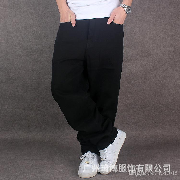 Al por mayor-Mens Pure Black Hiphop Baggy Denim Jeans de algodón Hombres sueltan ajuste para Street Dancing pantalones anchos de la pierna más el tamaño 42 44 46