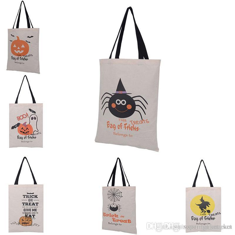 2017 halloween candy gift bags large canvas candy bags drawstring bag with pumpkin devil spider hallowmas gifts sack from lgl_market 217 dhgatecom - 2017 Halloween Candy