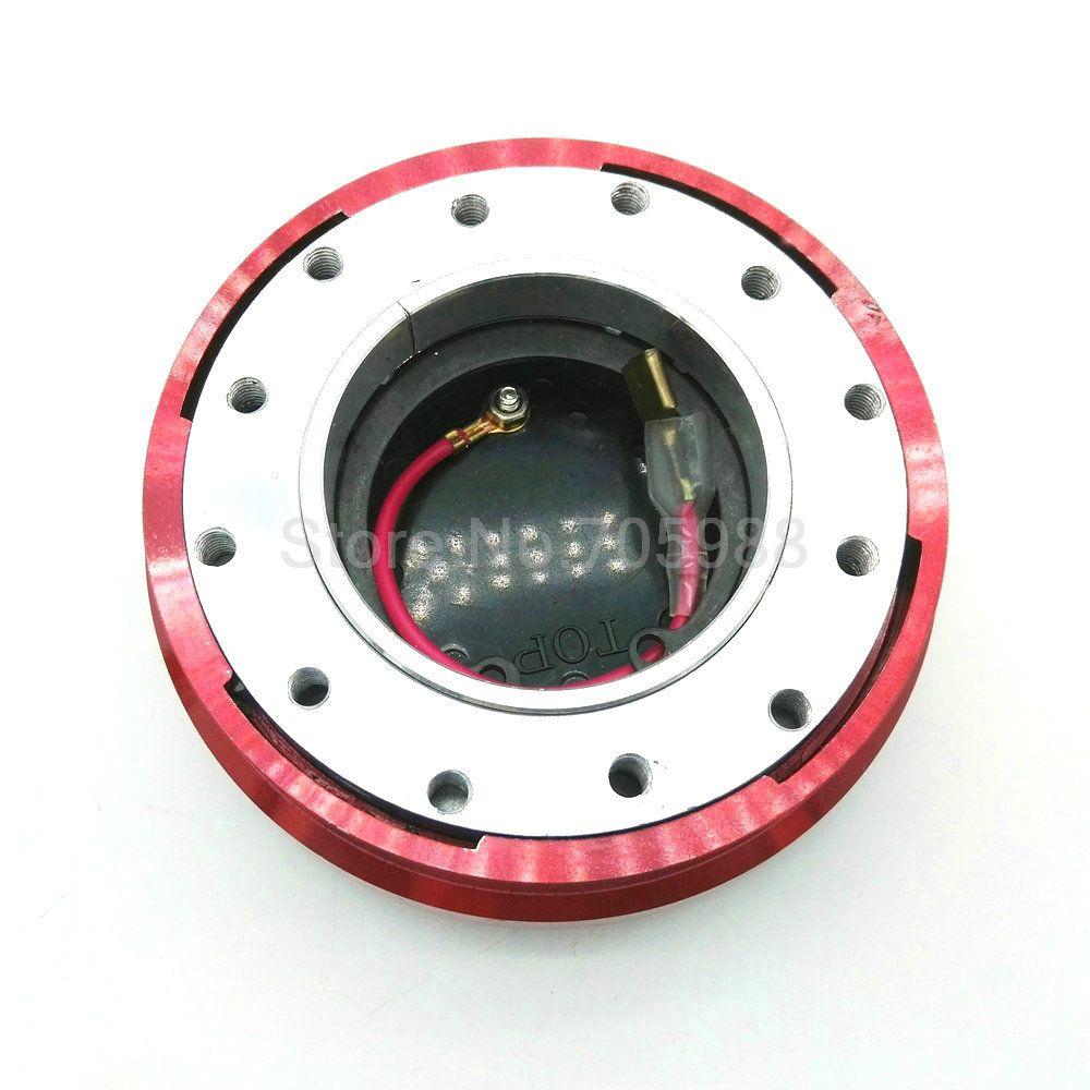 Aluminum 6-HOLE RED CAR THIN/SLIM VERSION STEERING WHEEL QUICK RELEASE HUB KIT ADAPTER
