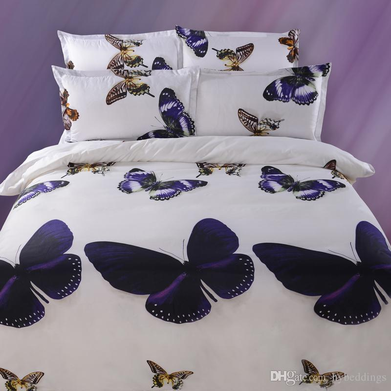 3d Purple Gold Butterfly Bedding Sets White Duvet Cover