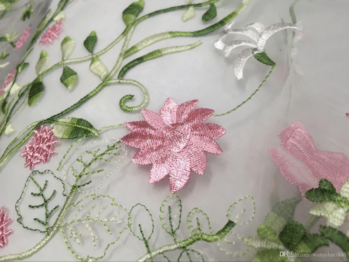 Hot Selling 5YardsWater soluble gauze bud silk fabrics Water soluble lace Organza multi-color embroidery fabrics