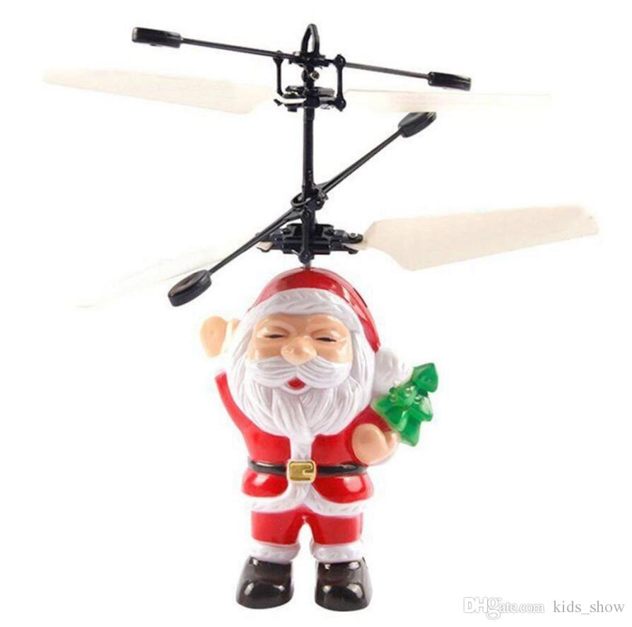 Electric Infrared Sensor Flying Santa Claus LED Flashing Light Toys Father Christmas Inductive Aircraft Helicopter Kids Magic Christmas Gift
