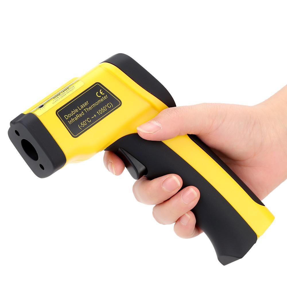 Freeshipping Precisione Digitale Termometro A Infrarossi Doppio Laser Senza contatto IR Pirometro Temperatura Tester Diagnostico-strumento 50 ~ 1050 Gradi