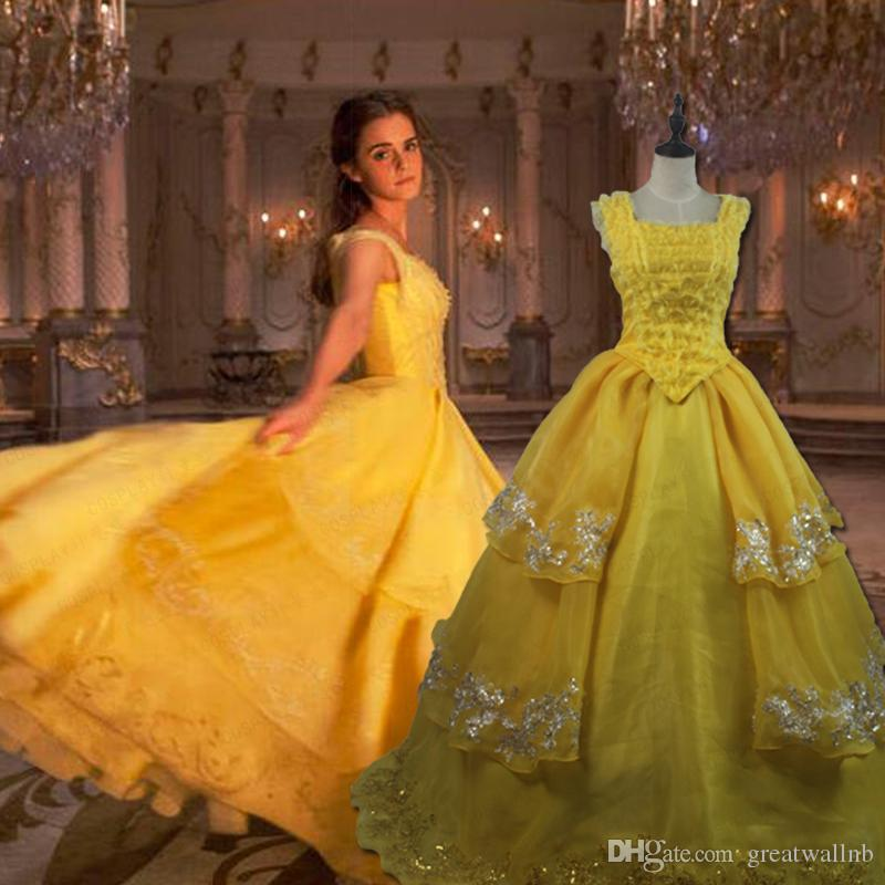 100%real Yellow Ruffled Belle Princess Ball Gown Beauty&Beast ...