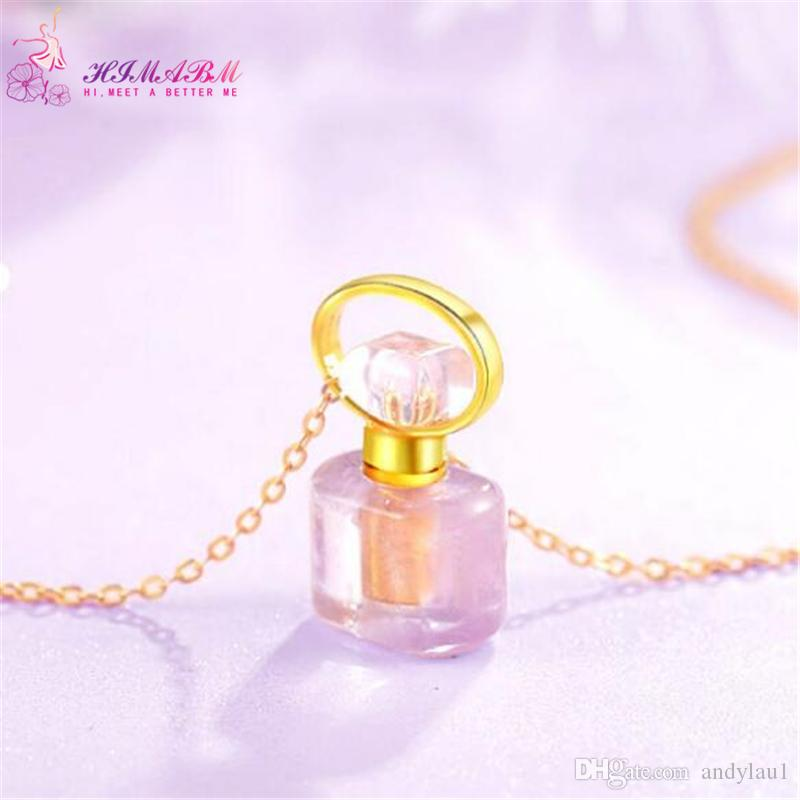 HIMABM Natural Amethyst Different Shape Perfume Bottle Scent-bottle Essential Oil Bottle Can volumetric flask Birthday
