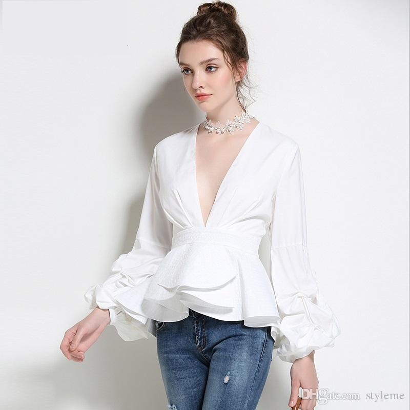 2018 high quality women elegant blouse 2017 autumn fashion for Womens white shirts high quality