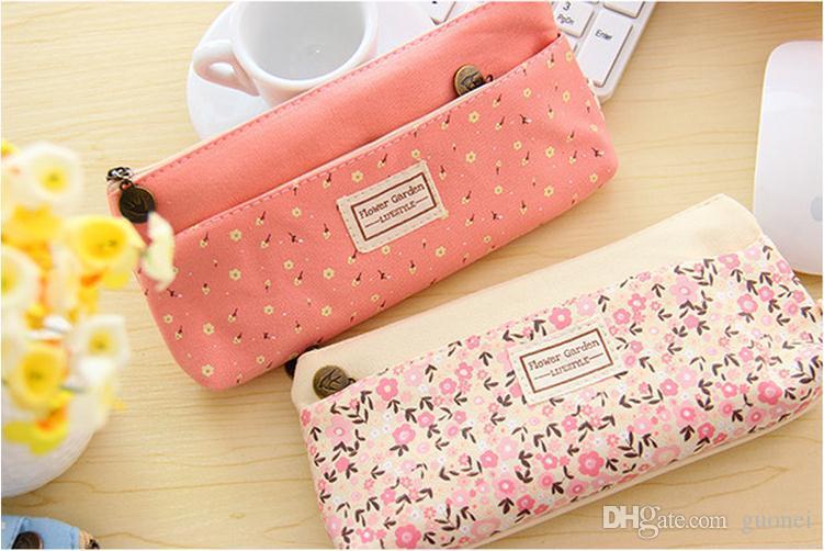 새로운 패션 작은 꽃 패턴 다층 패션 더블 지퍼 연필 케이스 문구 가방 파우치 메이크업 키트 무료 배송