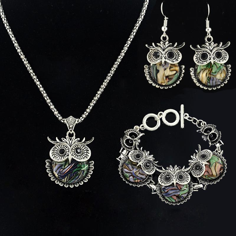 New Brand Owl Jewelry Sets Tibetan Vintage Silver Retro colorful shell Pendant Necklace drop earrings Charm bracelet Set XL-871
