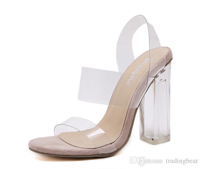 cinturino alla caviglia conciso pattini dell'inarcamento chiari trasparenti sandali tacco alto donne 2017