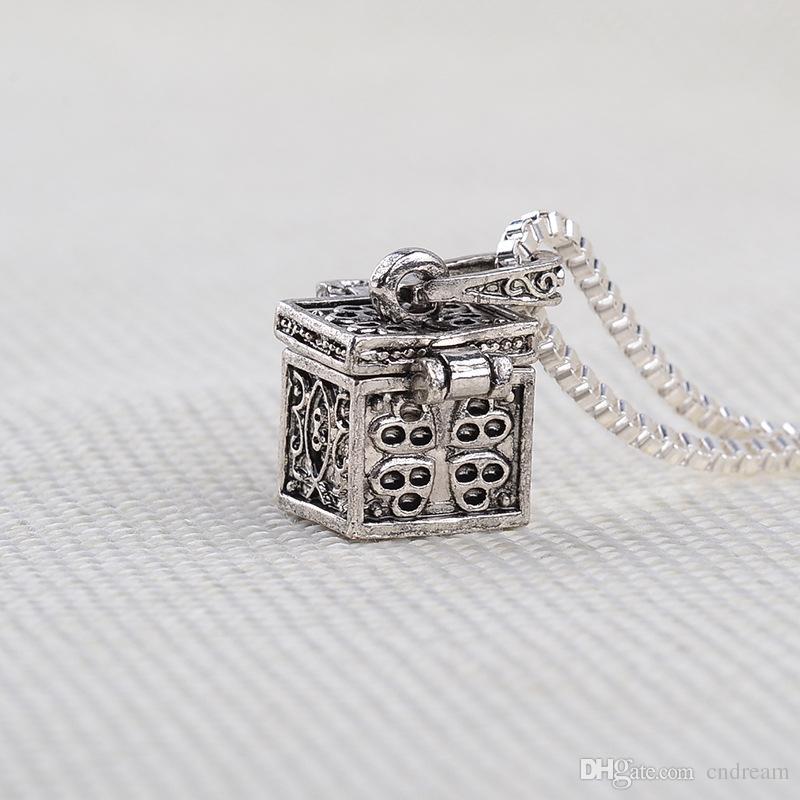 Antique Silver Love Medalhão Cremação Ashes Colar de Abertura Da Caixa De Cremação Medalhões pingente de lembrança Hold Ashes Jóias Aniversário Do Navio Da Gota