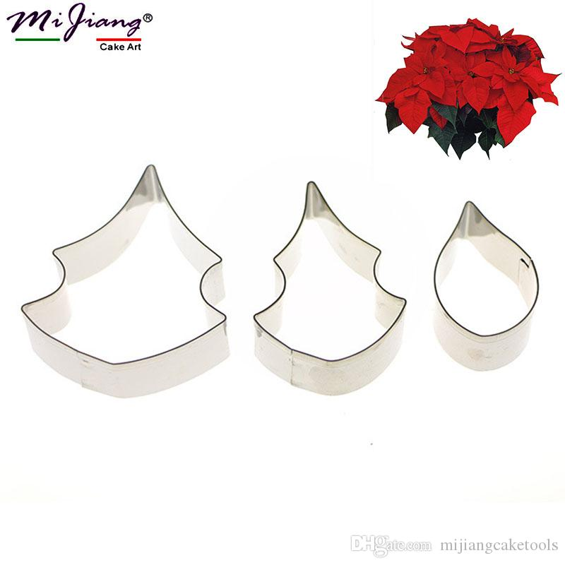 Mijiang Stainless Steel Christmas Flower Petal Cake Cutters Moulds DIY Fondant Cake Decorating Tools Sugar Cookie Cutter Slicer Set A354
