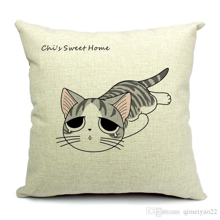 Cat Подушка Обложка 9 Стилей 45x45cm Хлопок белье Cat Pattern Подушка Обложка Толстой Бросьте наволочку для домашнего офиса дивана