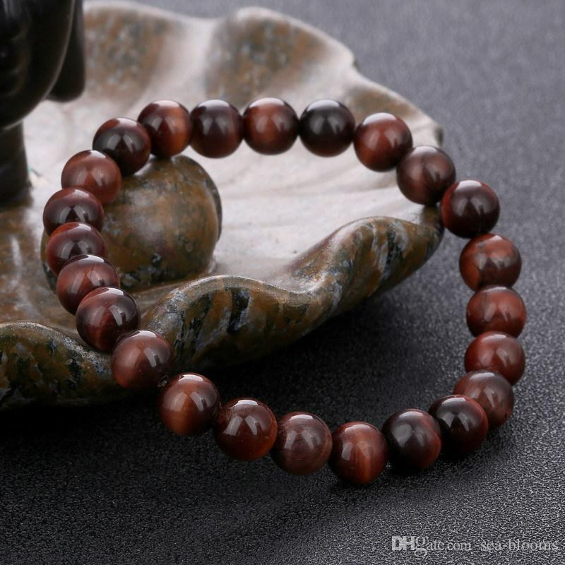 Natural Red Tiger Eye Bracelet 8mm Beads Red Tiger Eye Stone Bracelets for Men Women Stretch Bracelet Jewelry Accessories B674S