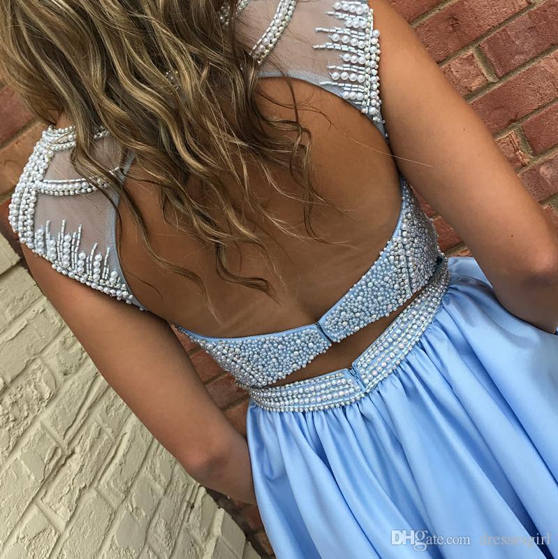 Custom Made Hot Sky Blue Robes de bal d \ 'origine Perles Satin Sheer Neck Une ligne 8ème Graduation Robes de soirée dos nu Mini Junior Prom