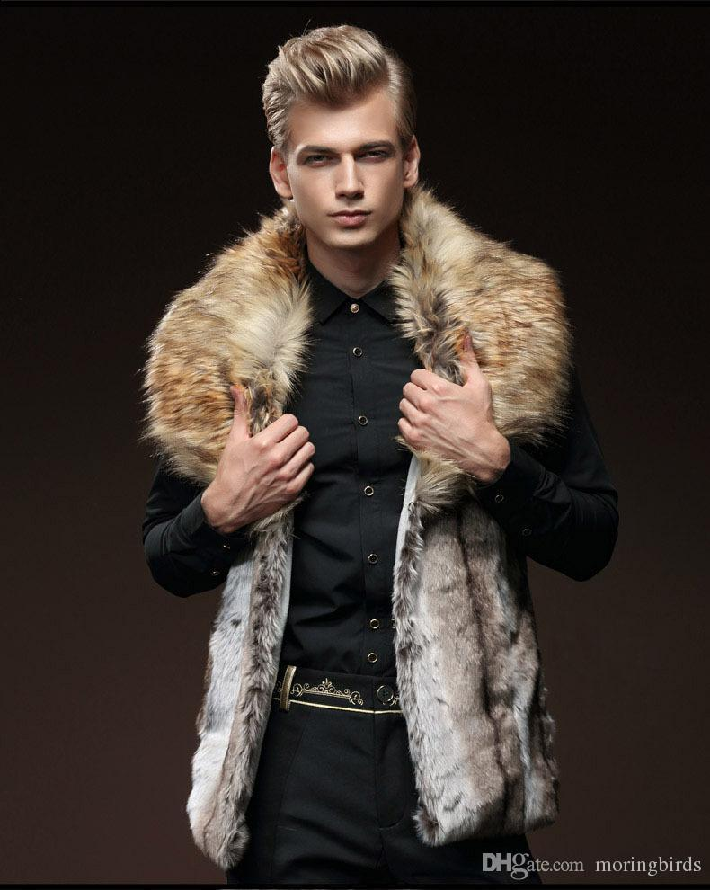 2018 2017 New Fur Coats Fall Luxury Mens Leather Jacket Men Fur ...