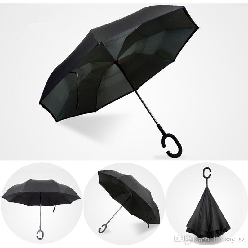 2017 Creativi invertiti Ombrelli Doppio Strato Con Maniglia C Dentro Fuori Reverse Ombrello Antivento spedizione veloce