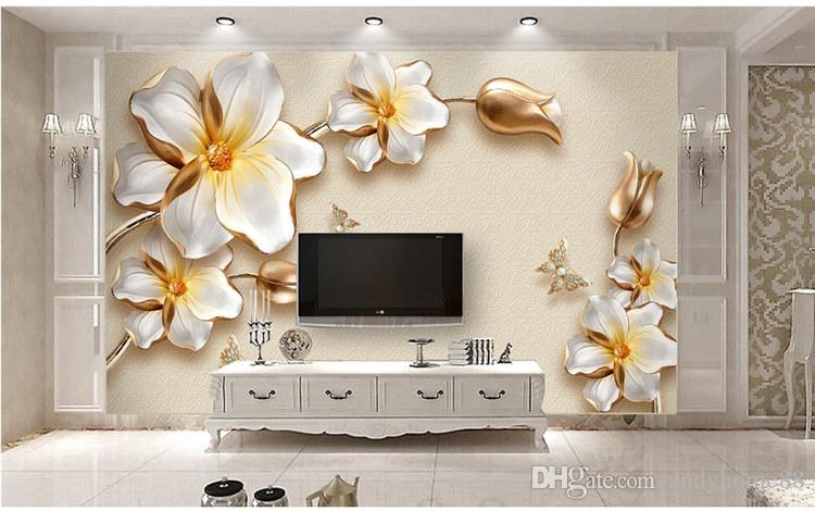 papel de parede Custom photo wallpaper wall murals 3D stereo luxury gold flower jewelry TV wall background wall