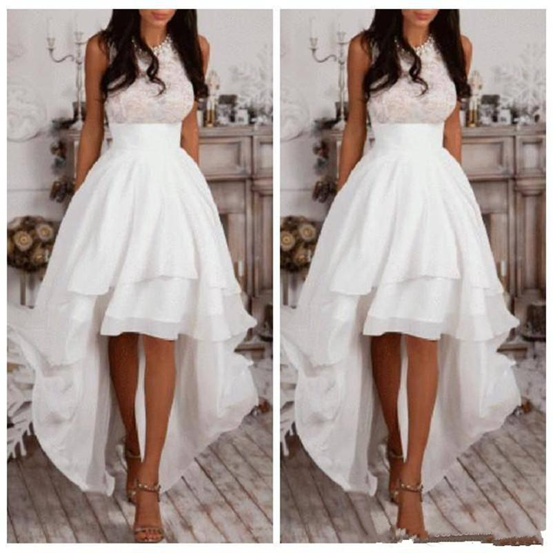 White Halter A Line High Low Prom Dresses Top Lace Beaded Summer ...