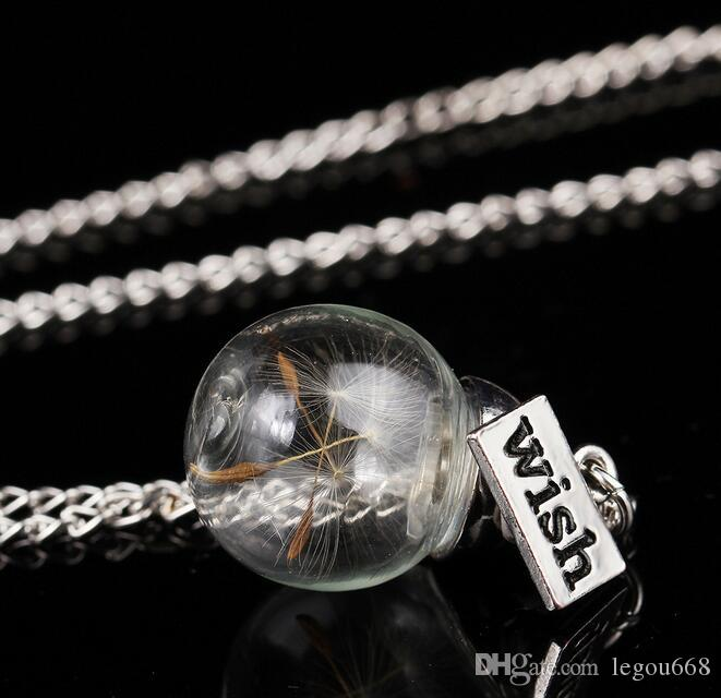 Collar de botellas de vidrio Semillas de diente de león natural en un collar largo de cristal Haga un deseo de cristal Bead Orb Plateado Collar de plata Joyería G125