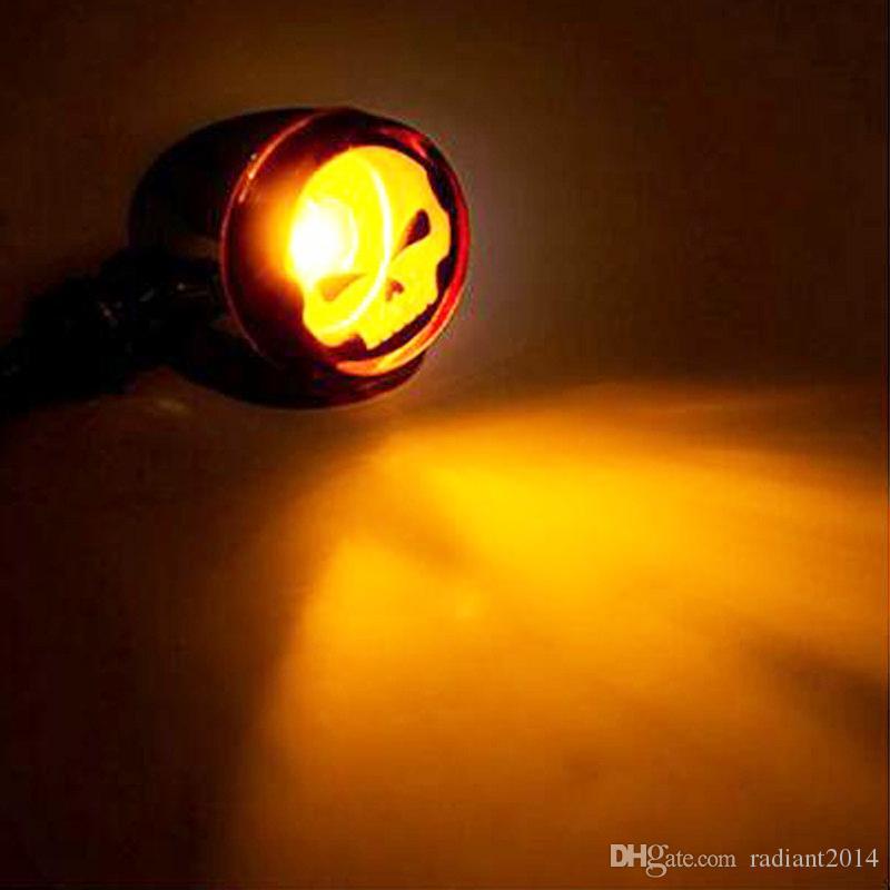Lampadina a forma di giradischi moto Harley Alloy Bullet Black Amber Bulb Retro Motorcycle Turn Indicators Lamp