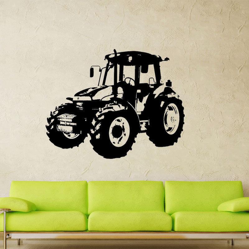 Бесплатная доставка: среднего размера 3D DIY трактор автомобиль грузовик автомобиля шаблон пвх наклейки / клей семья стены наклейки Спорт росписи искусства домашнего декора