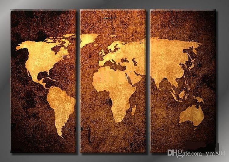 2019 Framed Hot Sell 3 Panels World Map Pure Handpainted Huge