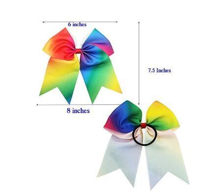 7.5INCH Larger Rainbow Cheer Bows Hair Ties Cheerleading Pony Tail Holder Elastic Head Loop For Girls Infant Teens Uniform Rainbow