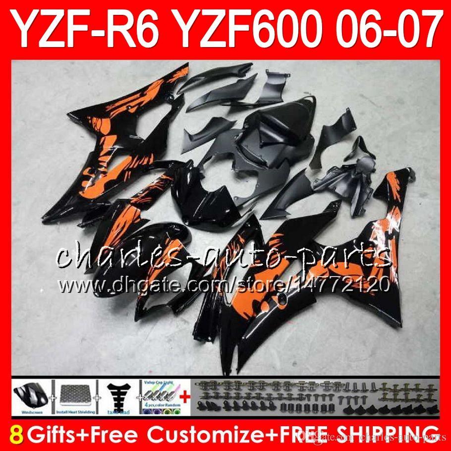 8Gifts Bodywork For YAMAHA YZF600 YZFR6 06 07 YZF-R600 59HM8 YZF R 6 06-07 YZF 600 YZF-R6 YZF R6 2006 2007 Fairing Graffiti orange