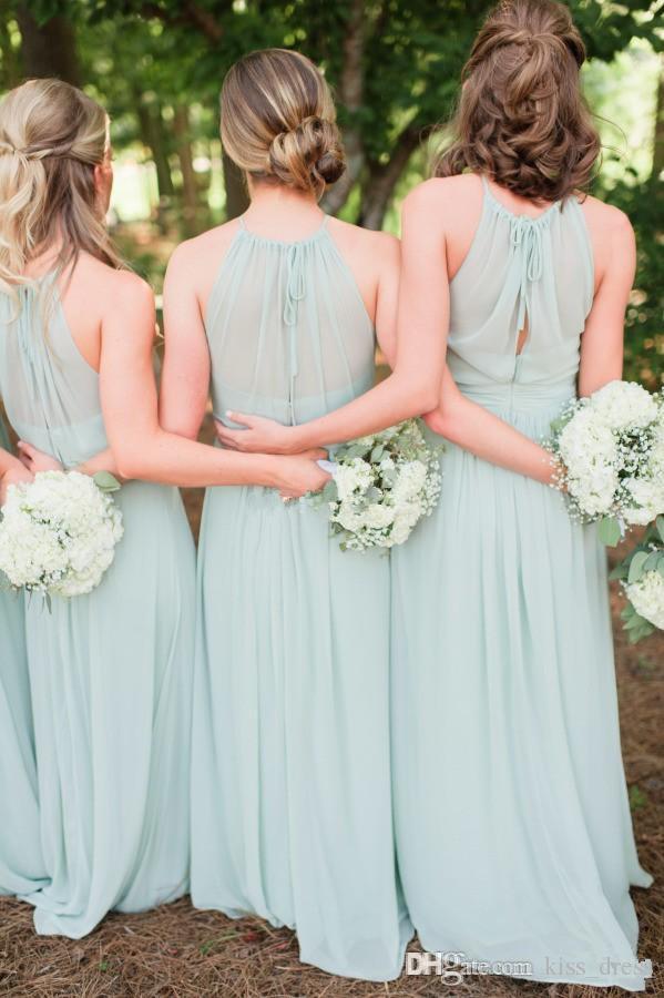 Nane Yeşil Şifon Uzun Gelinlik Modelleri Yaz Kat Uzunluk A-Line Halter Balo Abiye Düğün Törenlerinde Hollow Geri Sıcak Satış B62