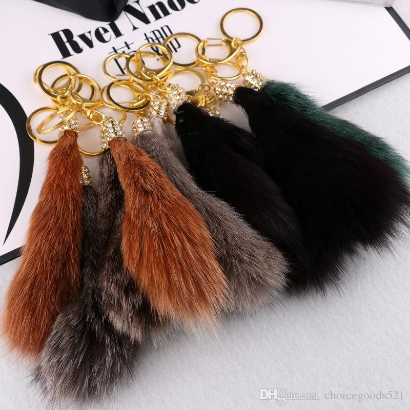 15 cm Large Fox Tail Fur Tassel Bag Tag Keychain Strap Chain Faux Fur Plush Car Key Chain Ring Pendant For Bag Charm